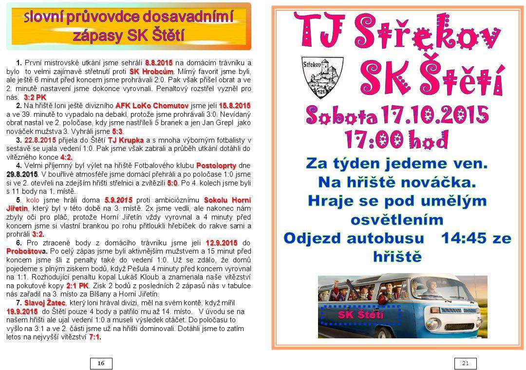 16 21 SK Štětí 8.8.2015 SK Hrobcům 3:2 PK 1.