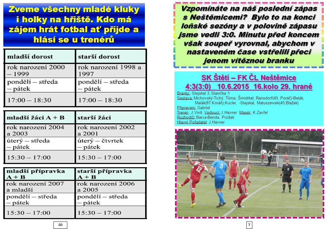 730 SK Štětí – FK ČL Neštěmice 4:3(3:0) 10.6.2015 16.kolo 29.