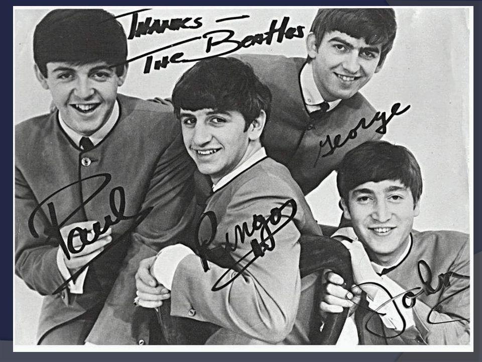 The Beatles  pocházeli z Liverpoolu  členy byli: John Lennon (zpěv, doprovodná kytara) Paul McCartney (zpěv, basová kytara) George Harrison (sólová kytara, zpěv) Ringo Starr (bicí, příležitostně zpěv)  písně: Let it be Yesterday Help http://www.youtube.com/watch?v=kEogJacjLTE