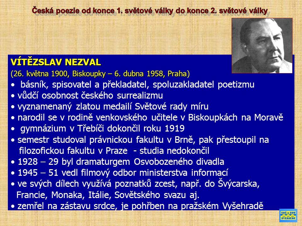 VÍTĚZSLAV NEZVAL 26.května 1900, Biskoupky – 6. dubna 1958, Praha (26.