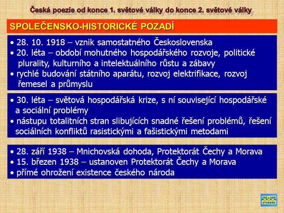 SPOLEČENSKO-HISTORICKÉ POZADÍ 28.10. 1918 – vznik samostatného Československa 20.