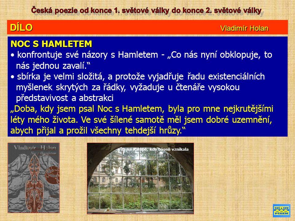 """DÍLO Vladimír Holan NOC S HAMLETEM konfrontuje své názory s Hamletem - """"Co nás nyní obklopuje, to nás jednou zavalí. sbírka je velmi složitá, a protože vyjadřuje řadu existenciálních myšlenek skrytých za řádky, vyžaduje u čtenáře vysokou představivost a abstrakci """"Doba, kdy jsem psal Noc s Hamletem, byla pro mne nejkrutějšími léty mého života."""
