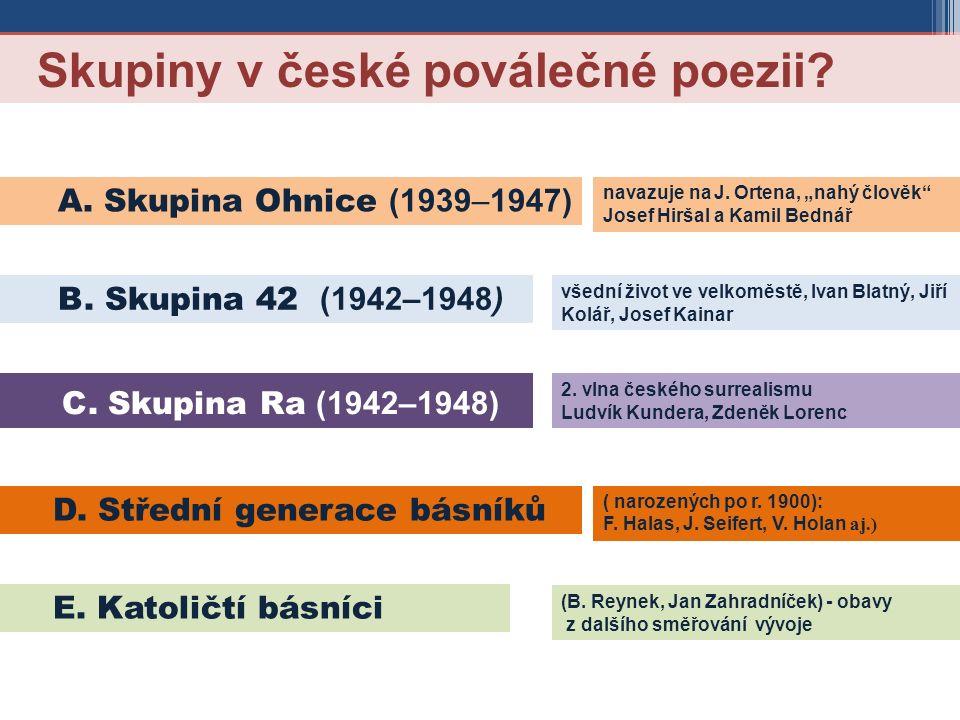 Skupiny v české poválečné poezii. B. Skupina 42 (1942–1948) E.