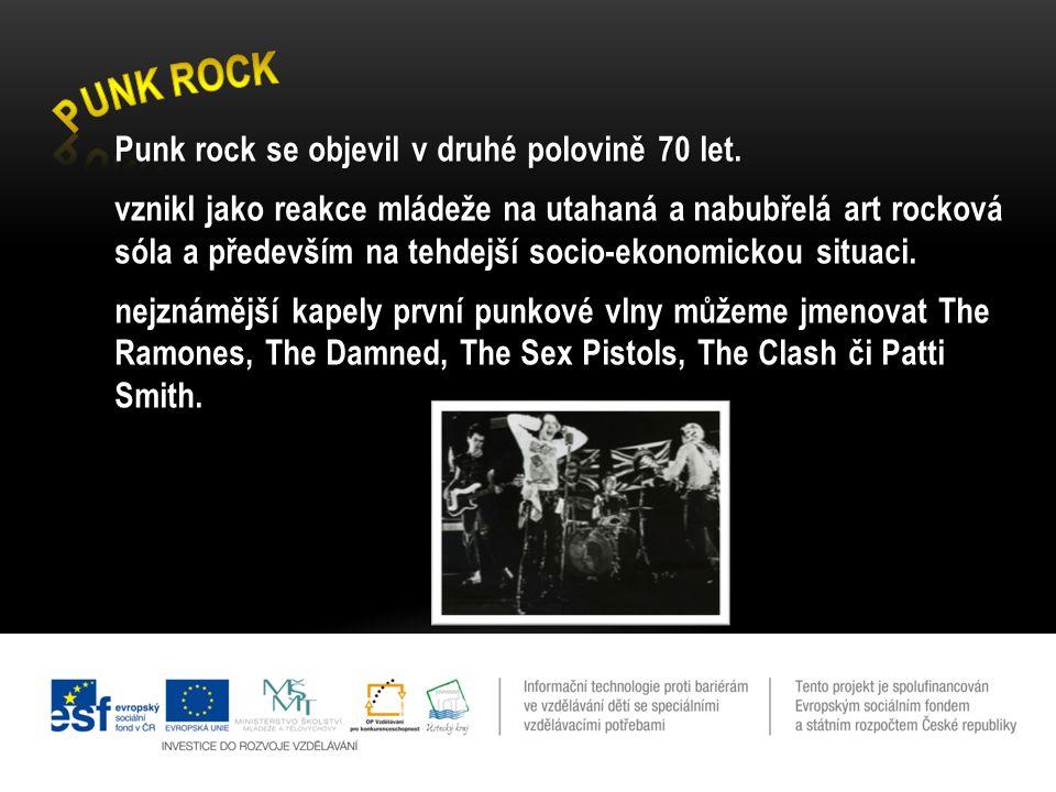 Punk rock se objevil v druhé polovině 70 let. vznikl jako reakce mládeže na utahaná a nabubřelá art rocková sóla a především na tehdejší socio-ekonomi