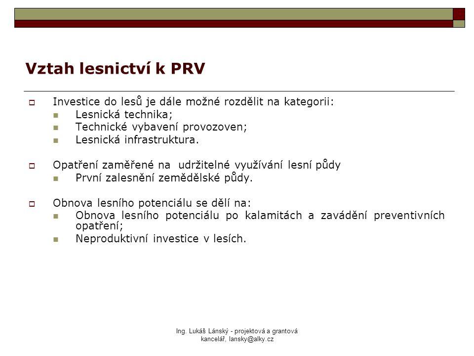 Ing. Lukáš Lánský - projektová a grantová kancelář, lansky@alky.cz Vztah lesnictví k PRV  Investice do lesů je dále možné rozdělit na kategorii: Lesn