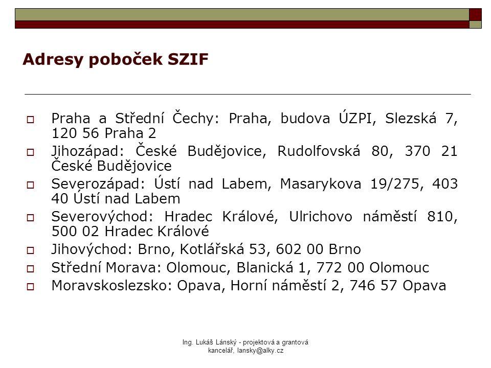 Ing. Lukáš Lánský - projektová a grantová kancelář, lansky@alky.cz Adresy poboček SZIF  Praha a Střední Čechy: Praha, budova ÚZPI, Slezská 7, 120 56