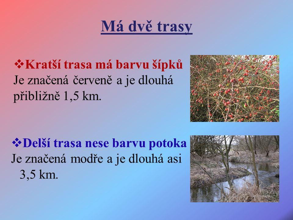 Má dvě trasy  Delší trasa nese barvu potoka Je značená modře a je dlouhá asi 3,5 km.