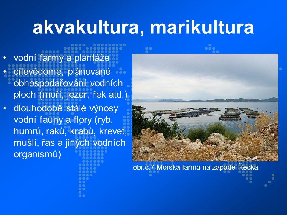 akvakultura, marikultura vodní farmy a plantáže cílevědomé, plánované obhospodařování vodních ploch (moří, jezer, řek atd.) dlouhodobě stálé výnosy vodní fauny a flory (ryb, humrů, raků, krabů, krevet, mušlí, řas a jiných vodních organismů) obr.č.7 Mořská farma na západě Řecka.