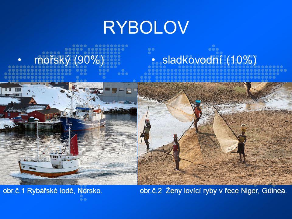 RYBOLOV mořský (90%)sladkovodní (10%) obr.č.1 Rybářské lodě, Norsko.obr.č.2 Ženy lovící ryby v řece Niger, Guinea.