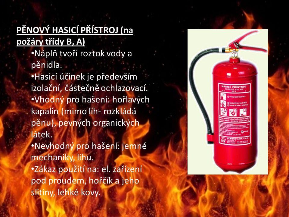 PĚNOVÝ HASICÍ PŘÍSTROJ (na požáry třídy B, A) Náplň tvoří roztok vody a pěnidla.