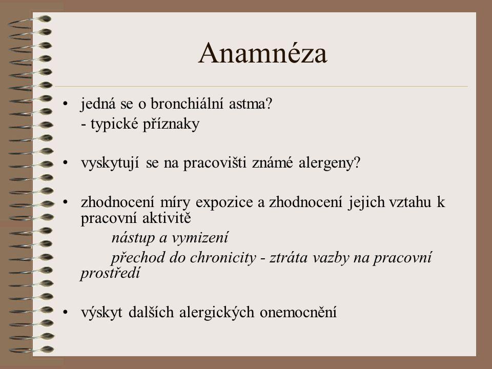 Anamnéza jedná se o bronchiální astma.