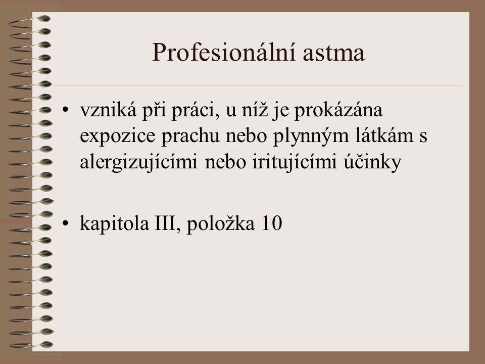 Profesionální astma vzniká při práci, u níž je prokázána expozice prachu nebo plynným látkám s alergizujícími nebo iritujícími účinky kapitola III, položka 10