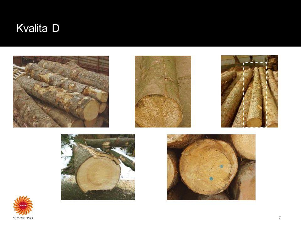 Kvalita D 8 Příklady třídění kvality D: Výskyt malých proužků tvrdé hniloby 50 % průměru čelní plochy je zbarveno = hněď