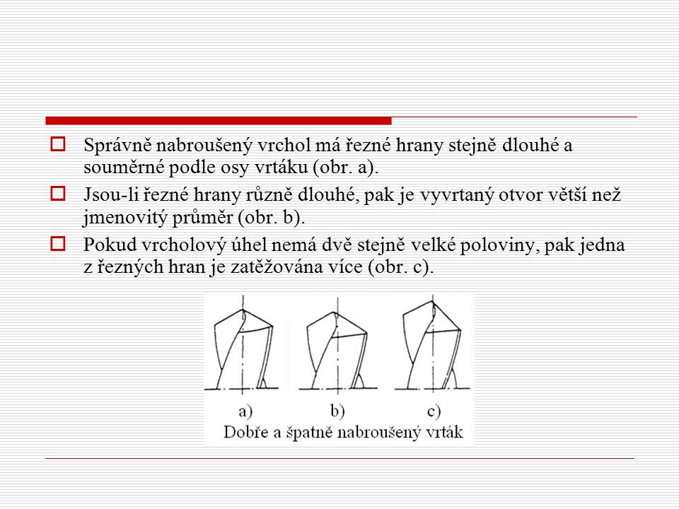  Správně nabroušený vrchol má řezné hrany stejně dlouhé a souměrné podle osy vrtáku (obr. a).  Jsou-li řezné hrany různě dlouhé, pak je vyvrtaný otv