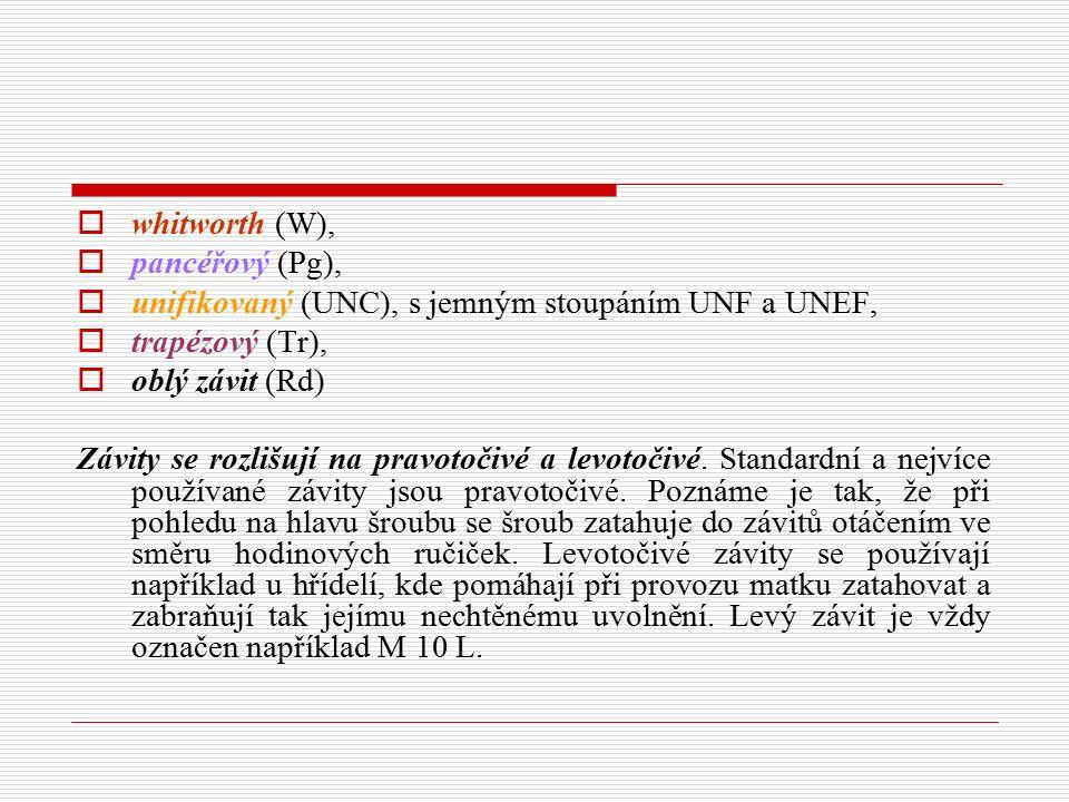  whitworth (W),  pancéřový (Pg),  unifikovaný (UNC), s jemným stoupáním UNF a UNEF,  trapézový (Tr),  oblý závit (Rd) Závity se rozlišují na prav