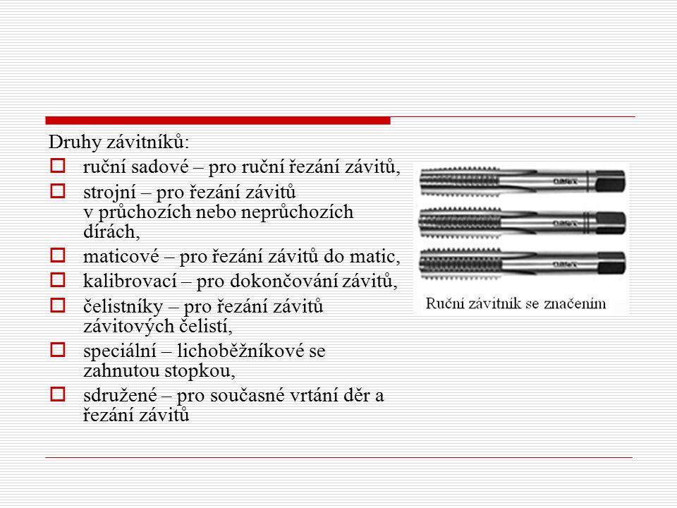 Druhy závitníků:  ruční sadové – pro ruční řezání závitů,  strojní – pro řezání závitů v průchozích nebo neprůchozích dírách,  maticové – pro řezán