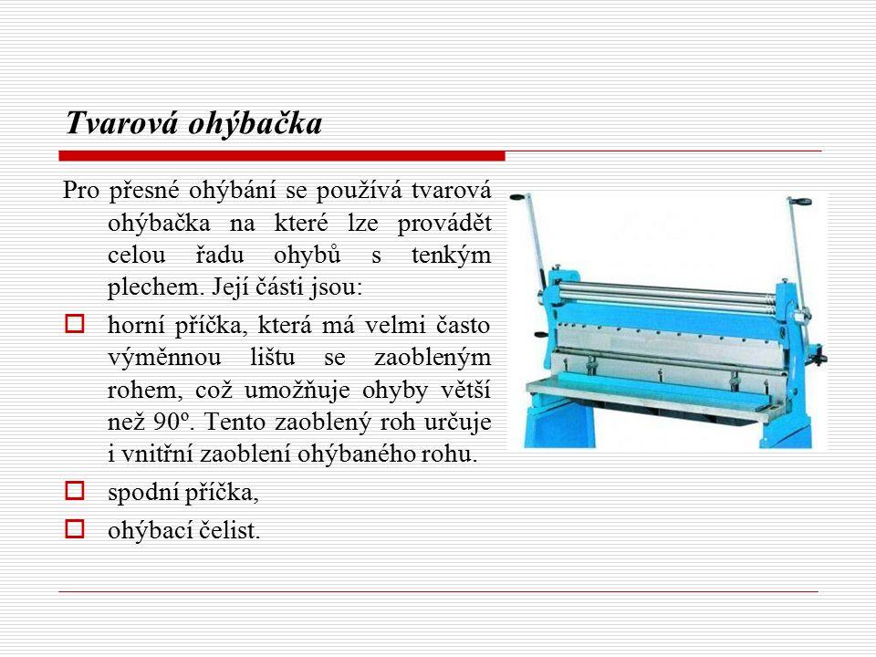 Tvarová ohýbačka Pro přesné ohýbání se používá tvarová ohýbačka na které lze provádět celou řadu ohybů s tenkým plechem. Její části jsou:  horní příč
