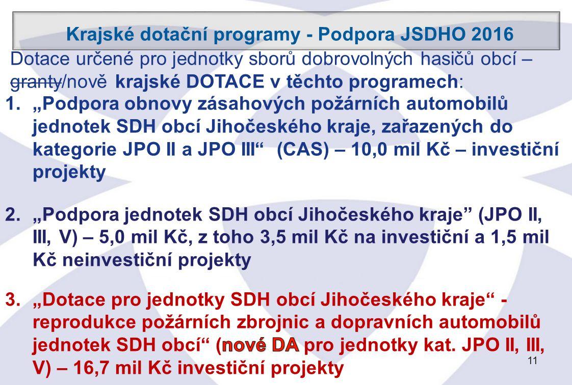 11 Krajské dotační programy - Podpora JSDHO 2016