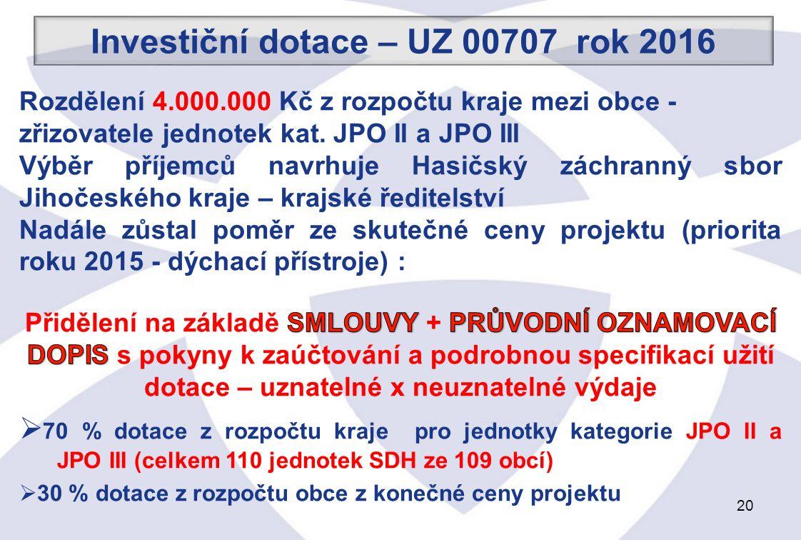 20 Investiční dotace – UZ 00707 rok 2016