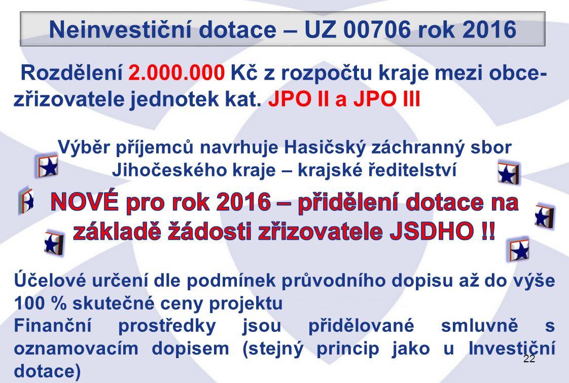 22 Neinvestiční dotace – UZ 00706 rok 2016