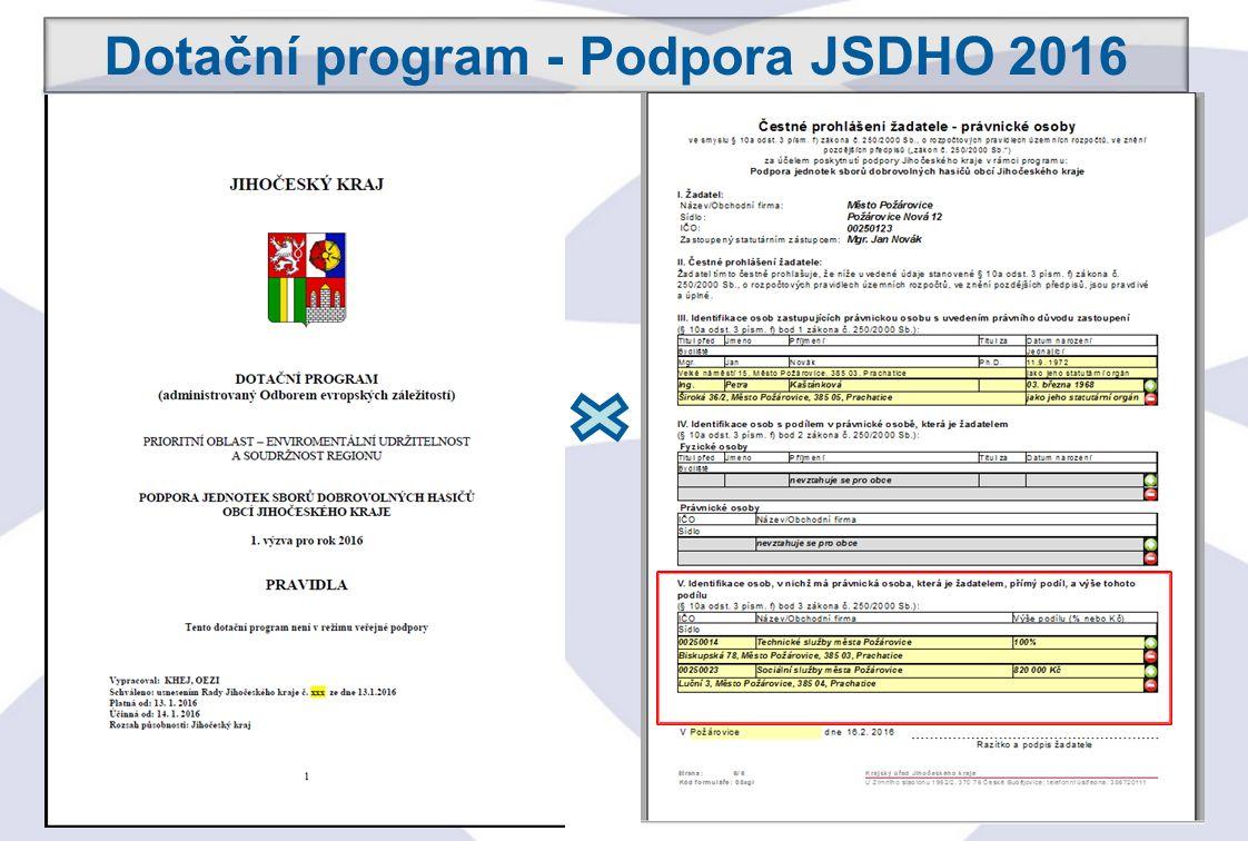 25 Dotační program - Podpora JSDHO 2016