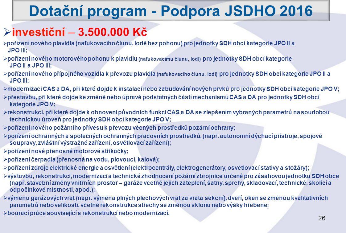 26  investiční – 3.500.000 Kč  pořízení nového plavidla (nafukovacího člunu, lodě bez pohonu) pro jednotky SDH obcí kategorie JPO II a JPO III;  pořízení nového motorového pohonu k plavidlu (nafukovacímu člunu, lodi) pro jednotky SDH obcí kategorie JPO II a JPO III;  pořízení nového přípojného vozidla k převozu plavidla (nafukovacího člunu, lodi) pro jednotky SDH obcí kategorie JPO II a JPO III;  modernizaci CAS a DA, při které dojde k instalaci nebo zabudování nových prvků pro jednotky SDH obcí kategorie JPO V;  přestavbu, při které dojde ke změně nebo úpravě podstatných částí mechanismů CAS a DA pro jednotky SDH obcí kategorie JPO V;  rekonstrukci, při které dojde k obnovení původních funkcí CAS a DA se zlepšením vybraných parametrů na soudobou technickou úroveň pro jednotky SDH obcí kategorie JPO V;  pořízení nového požárního přívěsu k převozu věcných prostředků požární ochrany;  pořízení ochranných a společných ochranných pracovních prostředků, (např.