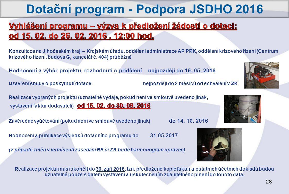 28 Dotační program - Podpora JSDHO 2016