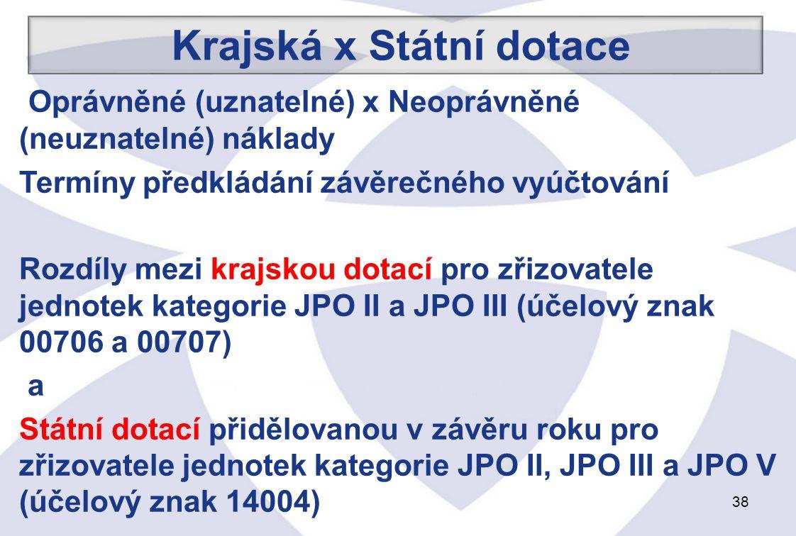 38 Oprávněné (uznatelné) x Neoprávněné (neuznatelné) náklady Termíny předkládání závěrečného vyúčtování Rozdíly mezi krajskou dotací pro zřizovatele jednotek kategorie JPO II a JPO III (účelový znak 00706 a 00707) a Státní dotací přidělovanou v závěru roku pro zřizovatele jednotek kategorie JPO II, JPO III a JPO V (účelový znak 14004) Krajská x Státní dotace
