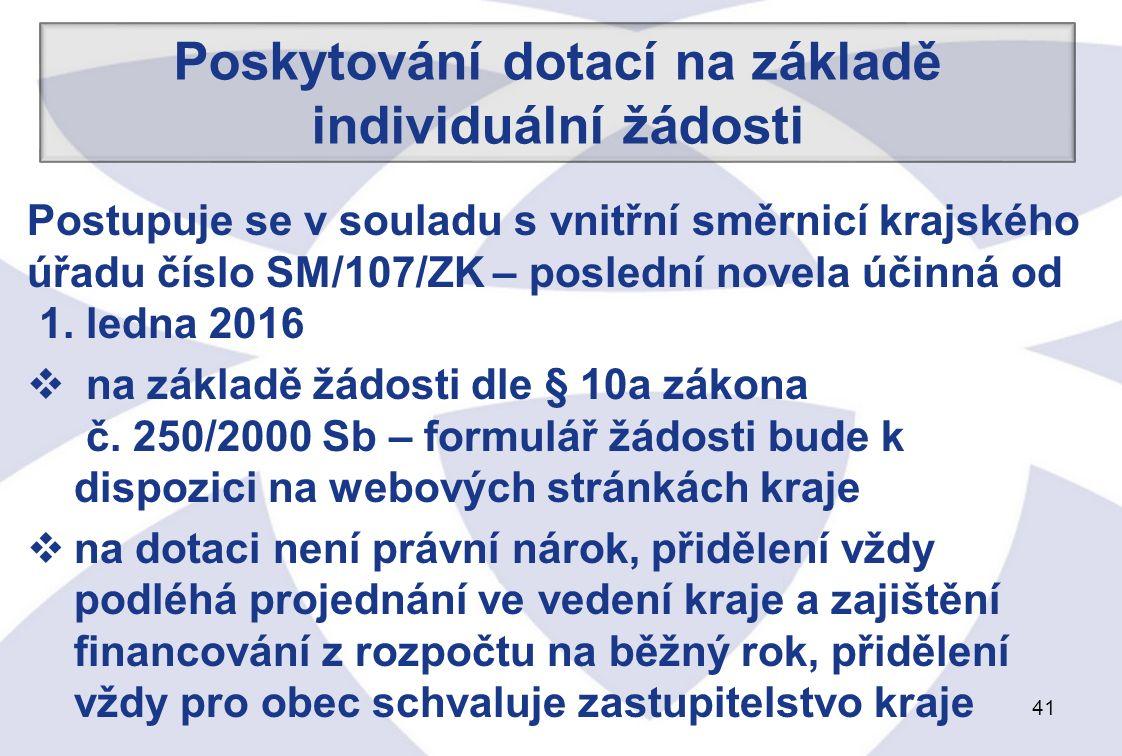 41 Postupuje se v souladu s vnitřní směrnicí krajského úřadu číslo SM/107/ZK – poslední novela účinná od 1.