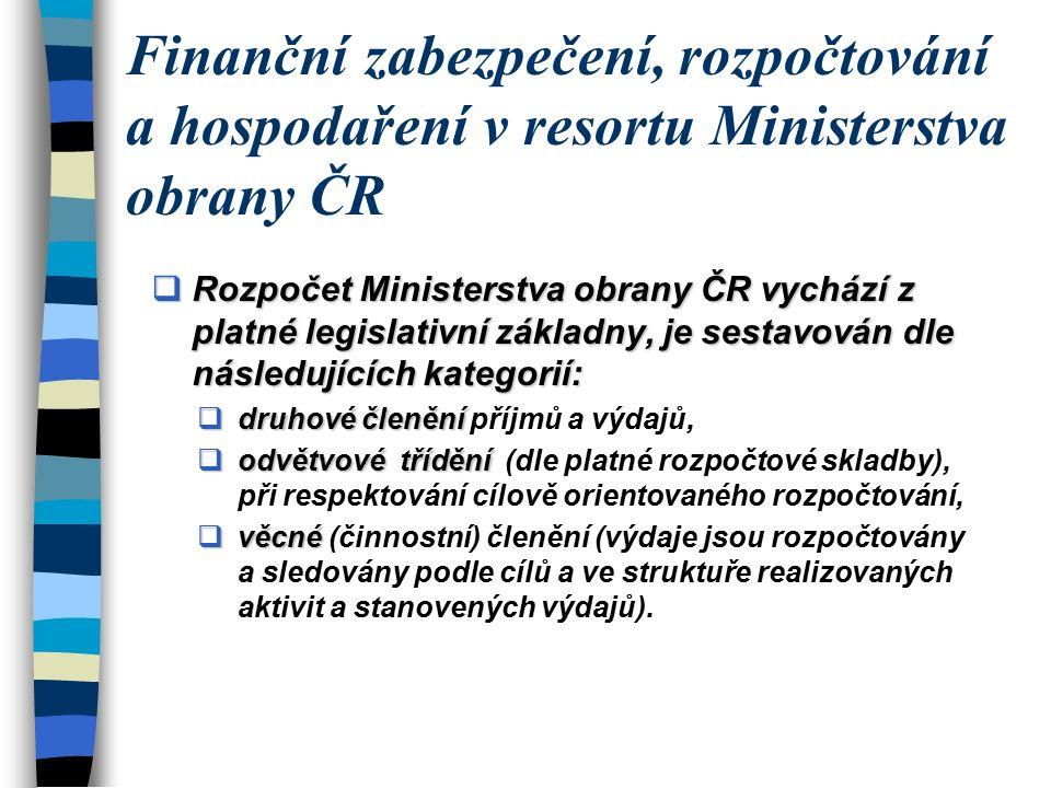  Rozpočet Ministerstva obrany ČR vychází z platné legislativní základny, je sestavován dle následujících kategorií:  druhové členění  druhové členění příjmů a výdajů,  odvětvové třídění  odvětvové třídění (dle platné rozpočtové skladby), při respektování cílově orientovaného rozpočtování,  věcné  věcné (činnostní) členění (výdaje jsou rozpočtovány a sledovány podle cílů a ve struktuře realizovaných aktivit a stanovených výdajů).