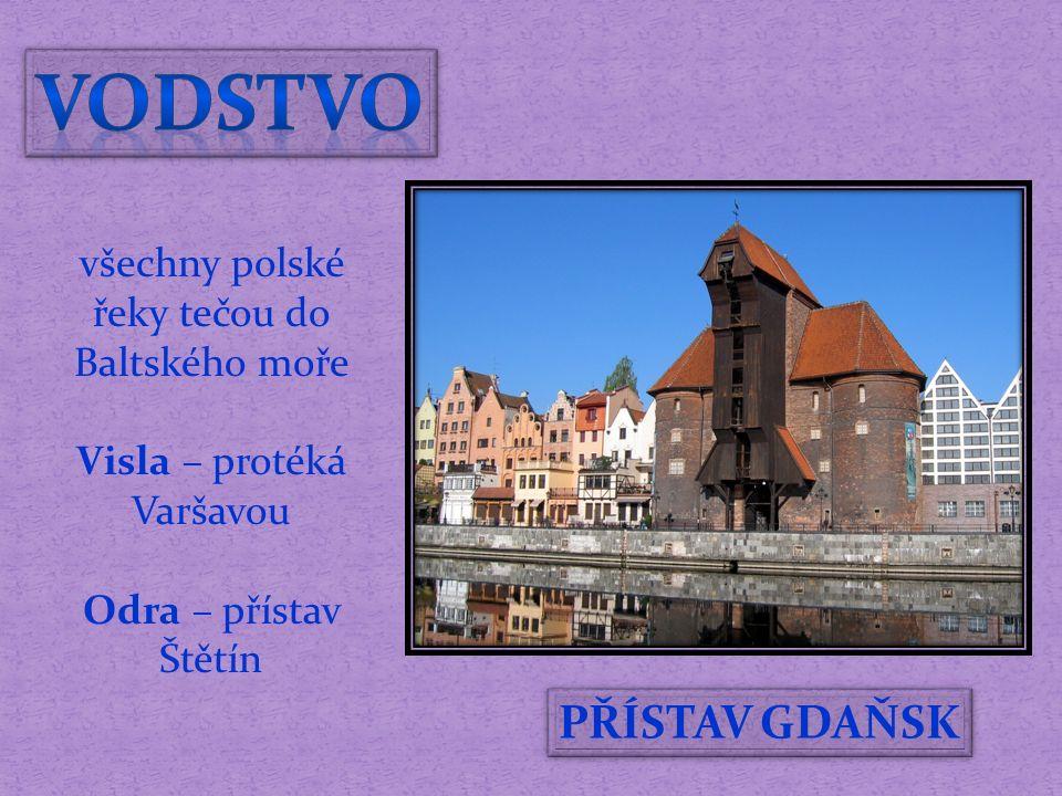 PŘÍSTAV GDAŇSK všechny polské řeky tečou do Baltského moře Visla – protéká Varšavou Odra – přístav Štětín