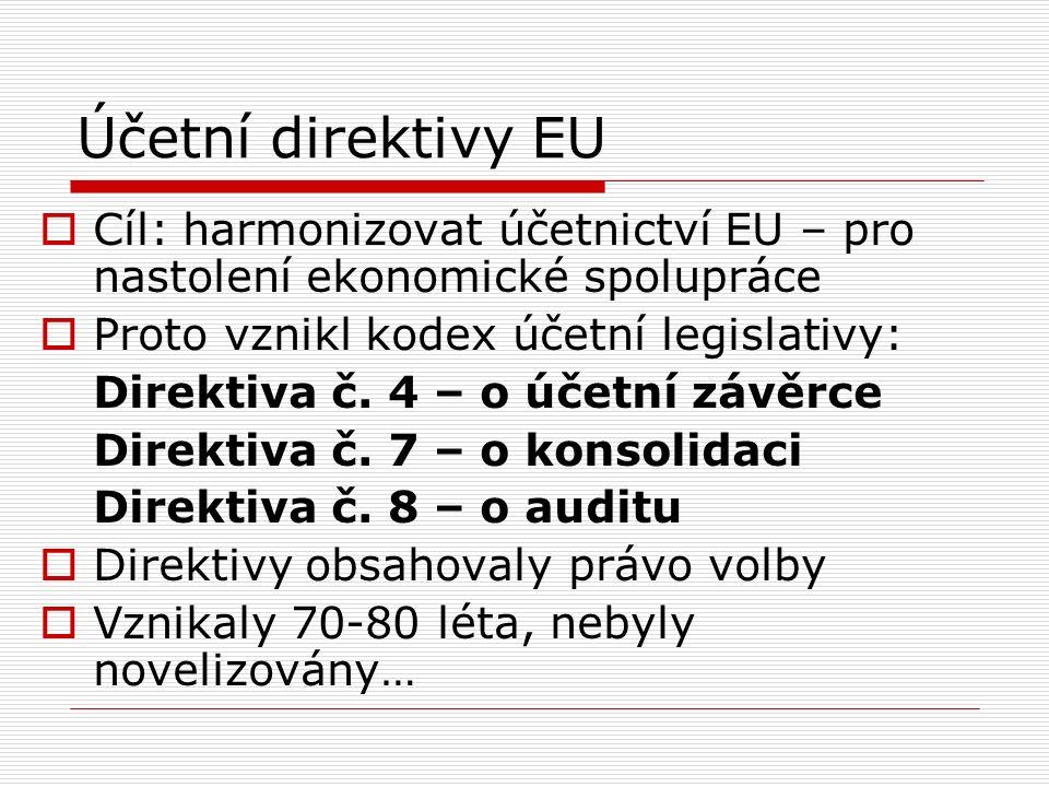 Účetní direktivy EU  Cíl: harmonizovat účetnictví EU – pro nastolení ekonomické spolupráce  Proto vznikl kodex účetní legislativy: Direktiva č.