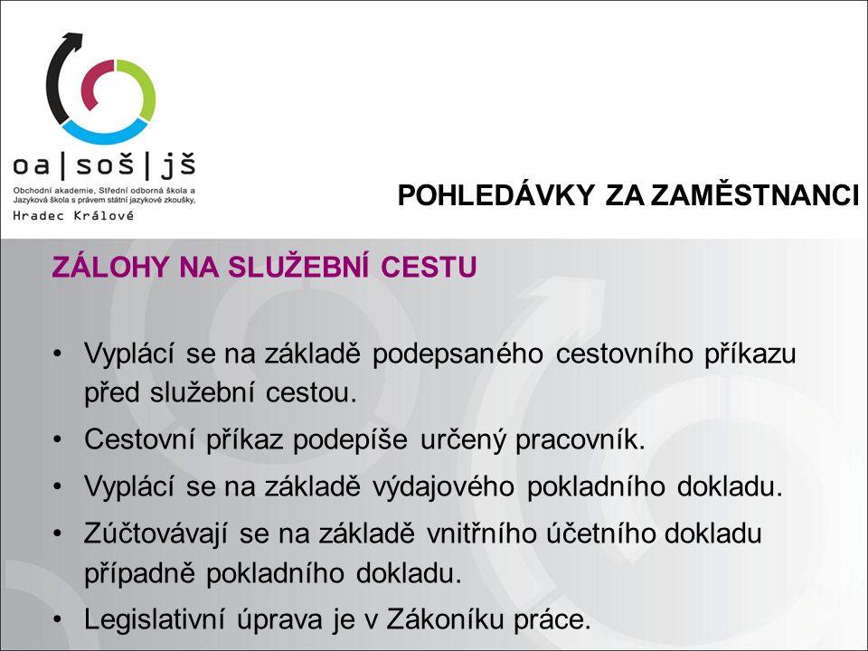 POHLEDÁVKY ZA ZAMĚSTNANCI ZÁLOHY NA SLUŽEBNÍ CESTU Vyplácí se na základě podepsaného cestovního příkazu před služební cestou.