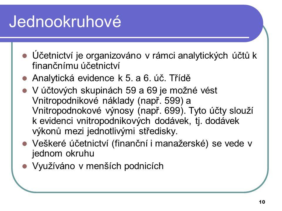10 Jednookruhové Účetnictví je organizováno v rámci analytických účtů k finančnímu účetnictví Analytická evidence k 5.