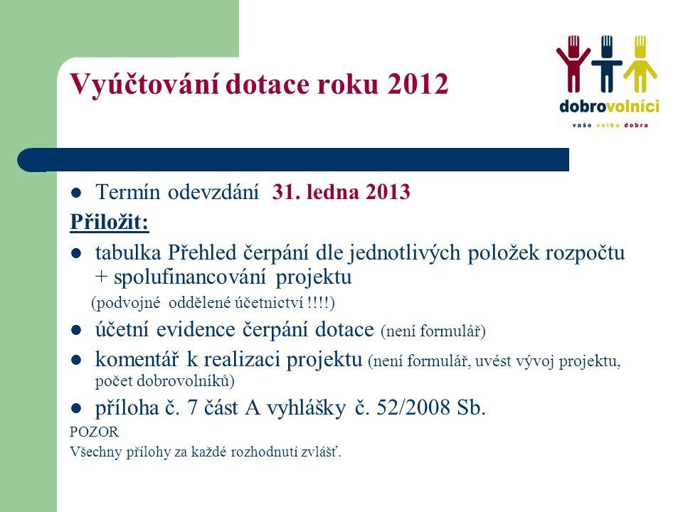 Vyúčtování dotace roku 2012 Termín odevzdání 31.