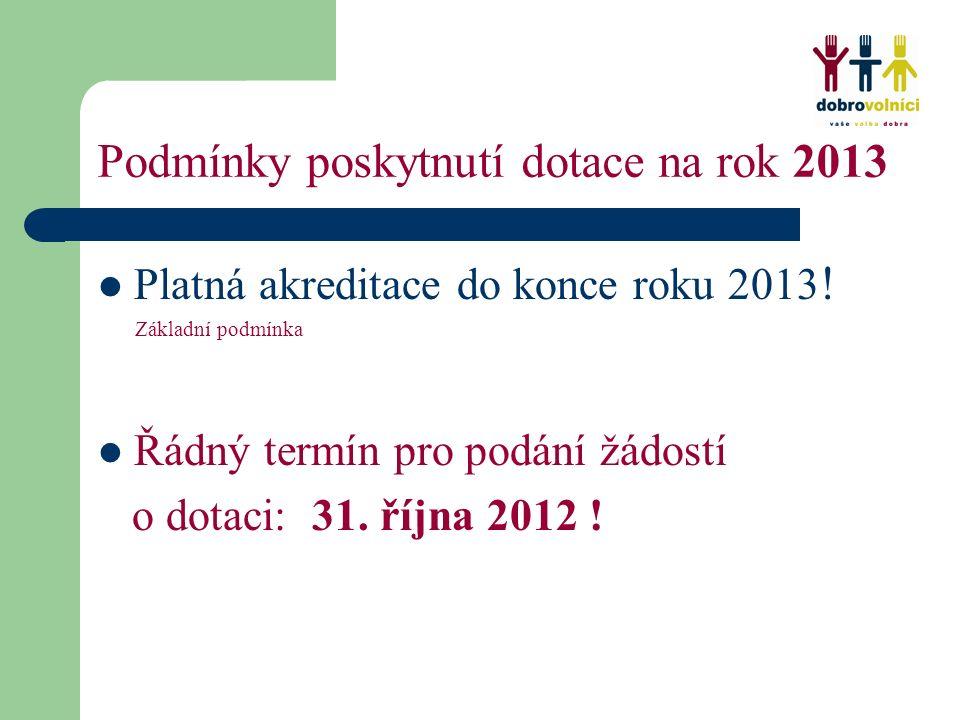 Podmínky poskytnutí dotace na rok 2013 Platná akreditace do konce roku 2013 .