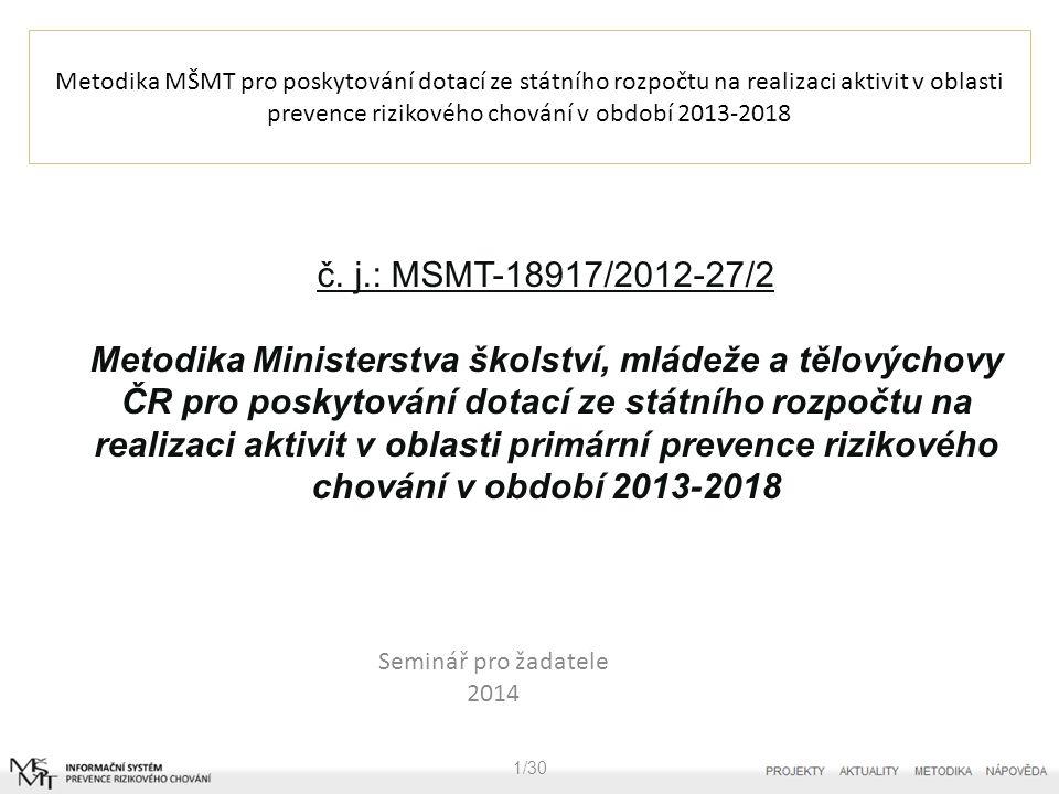 Metodika MŠMT pro poskytování dotací ze státního rozpočtu na realizaci aktivit v oblasti prevence rizikového chování v období 2013-2018 Seminář pro žadatele 2014 1/30 č.