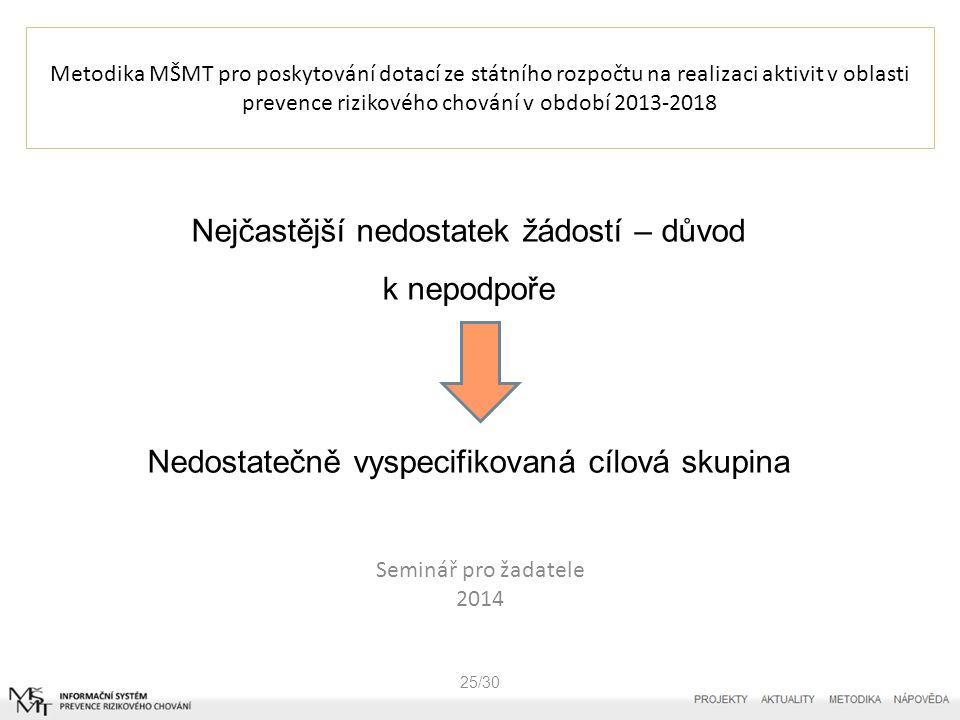 Metodika MŠMT pro poskytování dotací ze státního rozpočtu na realizaci aktivit v oblasti prevence rizikového chování v období 2013-2018 26/30 V žádosti – CÍLOVÁ SKUPINA V úvodu vyplníte/zvolíte - Projekt je zaměřen na prevenci -Všeobecnou -Selektivní -Indikovanou