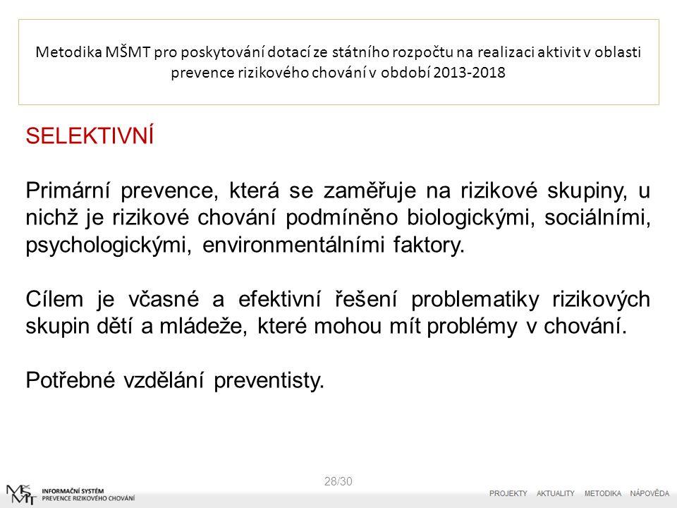 Metodika MŠMT pro poskytování dotací ze státního rozpočtu na realizaci aktivit v oblasti prevence rizikového chování v období 2013-2018 28/30 SELEKTIVNÍ Primární prevence, která se zaměřuje na rizikové skupiny, u nichž je rizikové chování podmíněno biologickými, sociálními, psychologickými, environmentálními faktory.
