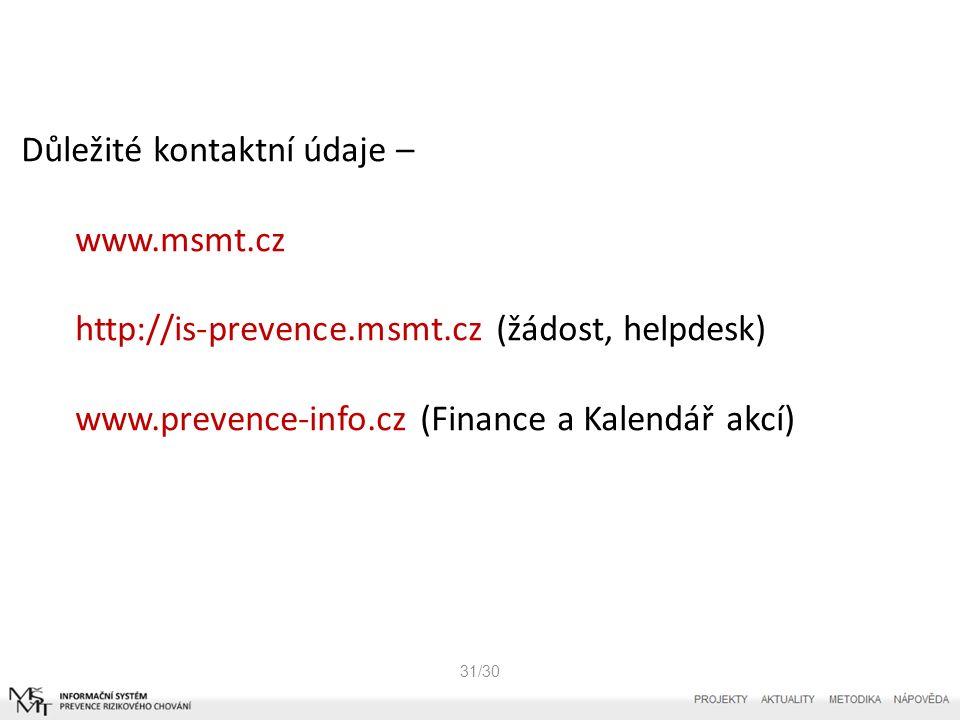 31/30 Důležité kontaktní údaje – www.msmt.cz http://is-prevence.msmt.cz (žádost, helpdesk) www.prevence-info.cz (Finance a Kalendář akcí)