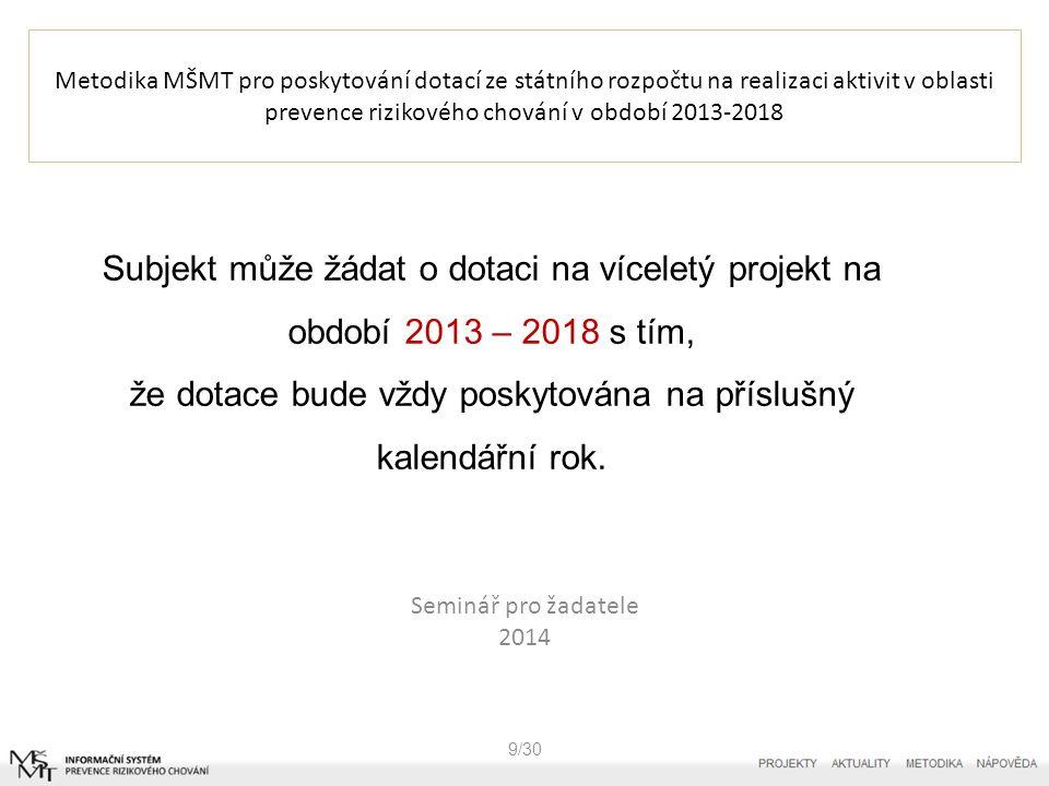 Metodika MŠMT pro poskytování dotací ze státního rozpočtu na realizaci aktivit v oblasti prevence rizikového chování v období 2013-2018 9/30 Subjekt může žádat o dotaci na víceletý projekt na období 2013 – 2018 s tím, že dotace bude vždy poskytována na příslušný kalendářní rok.