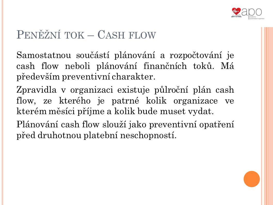 P ENĚŽNÍ TOK – C ASH FLOW Samostatnou součástí plánování a rozpočtování je cash flow neboli plánování finančních toků.