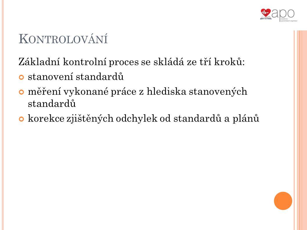 K ONTROLOVÁNÍ Základní kontrolní proces se skládá ze tří kroků: stanovení standardů měření vykonané práce z hlediska stanovených standardů korekce zjištěných odchylek od standardů a plánů