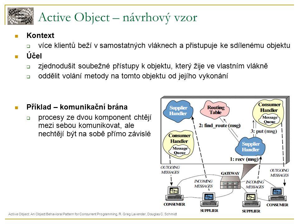 Active Object – návrhový vzor Kontext  více klientů beží v samostatných vláknech a přistupuje ke sdílenému objektu Účel  zjednodušit soubežné přístupy k objektu, který žije ve vlastním vlákně  oddělit volání metody na tomto objektu od jejího vykonání Příklad – komunikační brána  procesy ze dvou komponent chtějí mezi sebou komunikovat, ale nechtějí být na sobě přímo závislé Active Object: An Object Behavioral Pattern for Concurrent Programming, R.