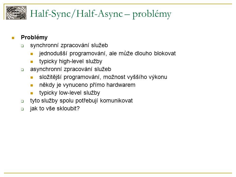 Half-Sync/Half-Async – problémy Problémy  synchronní zpracování služeb jednodušší programování, ale může dlouho blokovat typicky high-level služby  asynchronní zpracování služeb složitější programování, možnost vyššího výkonu někdy je vynuceno přímo hardwarem typicky low-level služby  tyto služby spolu potřebují komunikovat  jak to vše skloubit