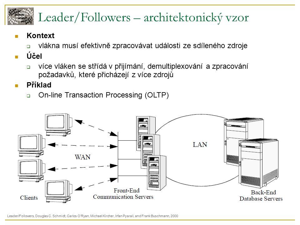 Leader/Followers – architektonický vzor Kontext  vlákna musí efektivně zpracovávat události ze sdíleného zdroje Účel  více vláken se střídá v přijímání, demultiplexování a zpracování požadavků, které přicházejí z více zdrojů Příklad  On-line Transaction Processing (OLTP) Leader/Followers, Douglas C.
