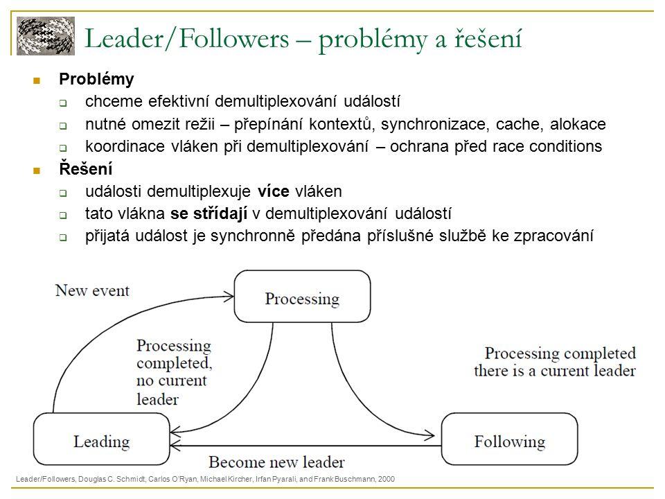 Leader/Followers – problémy a řešení Problémy  chceme efektivní demultiplexování událostí  nutné omezit režii – přepínání kontextů, synchronizace, cache, alokace  koordinace vláken při demultiplexování – ochrana před race conditions Řešení  události demultiplexuje více vláken  tato vlákna se střídají v demultiplexování událostí  přijatá událost je synchronně předána příslušné službě ke zpracování Leader/Followers, Douglas C.