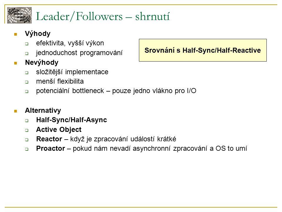 Leader/Followers – shrnutí Výhody  efektivita, vyšší výkon  jednoduchost programování Nevýhody  složitější implementace  menší flexibilita  potenciální bottleneck – pouze jedno vlákno pro I/O Alternativy  Half-Sync/Half-Async  Active Object  Reactor – když je zpracování událostí krátké  Proactor – pokud nám nevadí asynchronní zpracování a OS to umí Srovnání s Half-Sync/Half-Reactive