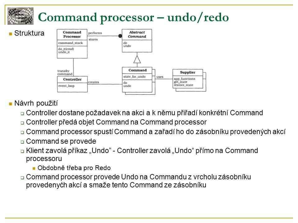 """Struktura Návrh použití  Controller dostane požadavek na akci a k němu přiřadí konkrétní Command  Controller předá objet Command na Command processor  Command processor spustí Command a zařadí ho do zásobníku provedených akcí  Command se provede  Klient zavolá příkaz """"Undo - Controller zavolá """"Undo přímo na Command processoru Obdobně třeba pro Redo  Command processor provede Undo na Commandu z vrcholu zásobníku provedenyćh akcí a smaže tento Command ze zásobníku Command processor – undo/redo"""