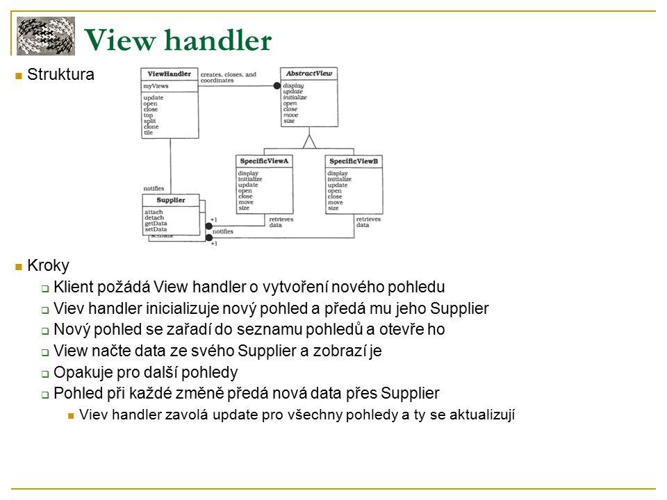 Struktura Kroky  Klient požádá View handler o vytvoření nového pohledu  Viev handler inicializuje nový pohled a předá mu jeho Supplier  Nový pohled se zařadí do seznamu pohledů a otevře ho  View načte data ze svého Supplier a zobrazí je  Opakuje pro další pohledy  Pohled při každé změně předá nová data přes Supplier Viev handler zavolá update pro všechny pohledy a ty se aktualizují View handler